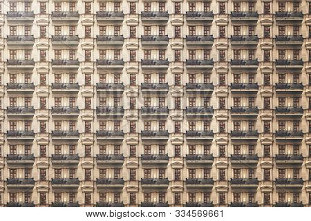 Architectural Pattern, Old Berlin House With Stucco And Balconies