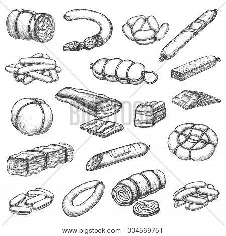 Butcher Shop Meat And Sausages, Vector Hand Drawn Sketch Icons. Butchery Meat Delicatessen And Gourm