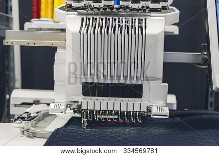 Close Up Of An Automatic Stitching Machine