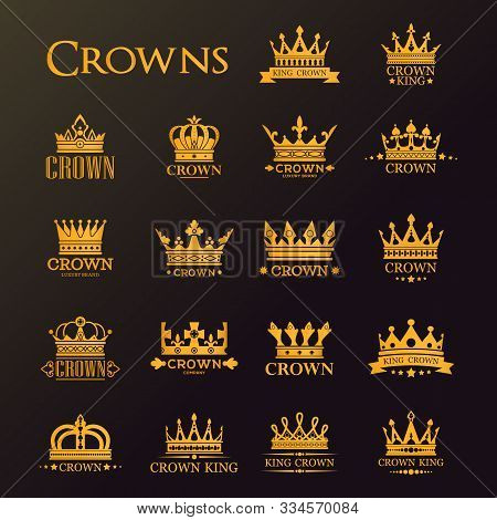 Golden Crowns, Vector Heraldic Icons For Luxury Company And Premium Corporate Identity Labels. Gold