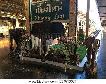 Chiang Mai, Thailand. April 13, 2018: Train Station Sign Of The Chiang Mai Railway. Chiang Mai Train