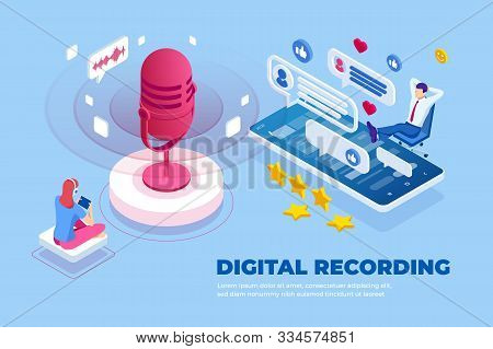 Isometric Digital Recording And Digital Sound Wave Concept. Musical Melody Design. Soundwave Audio M