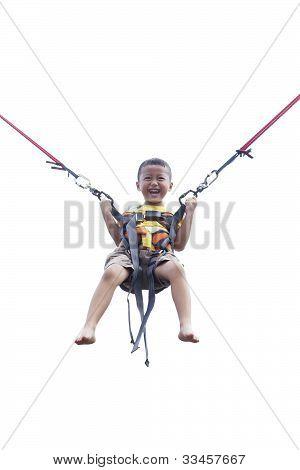 Boy Playing Trampoline