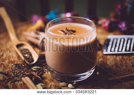 Masala Tea ( Masala Chai). A Traditional Hot Drink In India And South Asia. Black Tea With Milk And