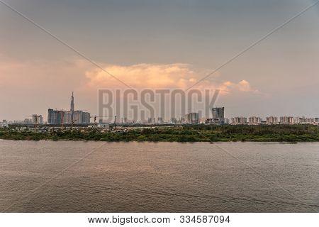 Ho Chi Minh City, Vietnam - March 12, 2019: Evening Shot Over Song Sai Gon River Towards Modern Part
