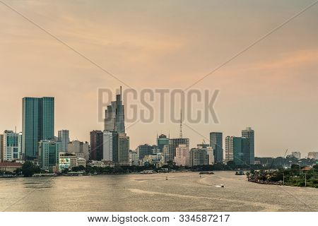 Ho Chi Minh City, Vietnam - March 12, 2019: Sunset Sky Shot Over Song Sai Gon River And Boardwalk Wi