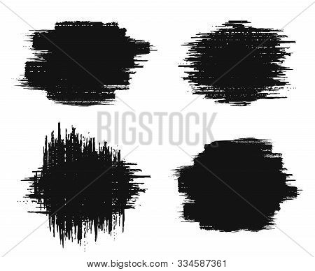 Brush Strokes Set. Paintbrush Grunge Design Elements. Rectangle Text Boxes. Dirty Distress Pattern B