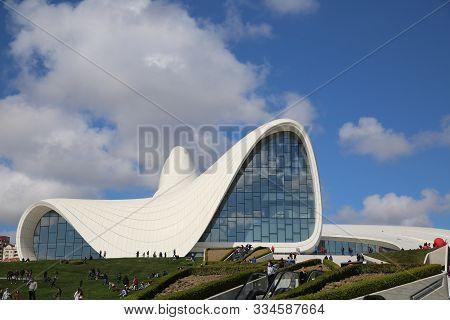 Exterior View Of Heydar Aliyev Complex Building In Baku. Designed By Iraqi-british Architect Zaha Ha