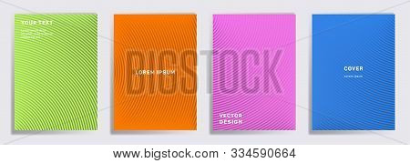 Simple Covers Linear Design. Radial Semicircle Geometric Lines Patterns. Abstract Backgrounds For Ca
