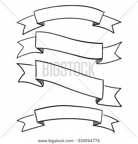 Set Of Decorative Ribbons. Vector Hand-drawn Illustration