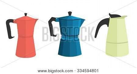 A Set Of Three Different Geyser Italian Coffee Makers In A Flat Style. In Different Colors. Red, Gre