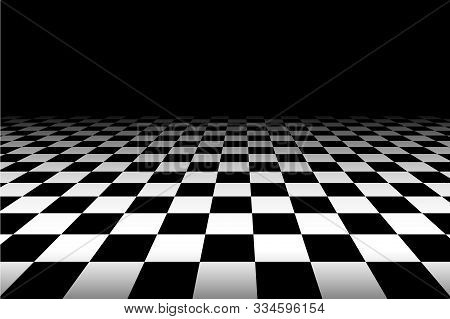Vector Chess Background. Black And White Perspective Checkered Background. Abstract Background With