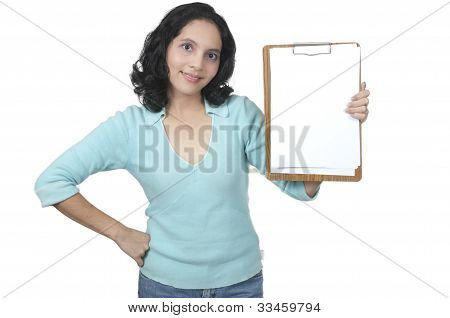 Mixed Caucasian Asian Woman Hold Blank Paper