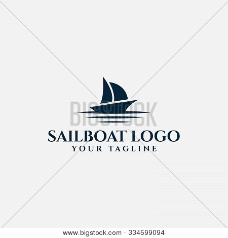 Sail Boat And Sea Wave, Sailing Yacht, Nautical Logo Design