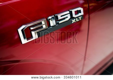 Detroit, Usa - Nov 17, 2019: Logo Of Ford F150 Pick Up Truck, The Best Selling Pickup Truck In The U