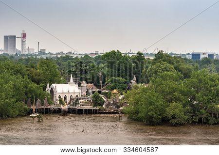 Ho Chi Minh City Vietnam - March 12, 2019: Song Sai Gon River. L Amour Film School And Studio Hidden