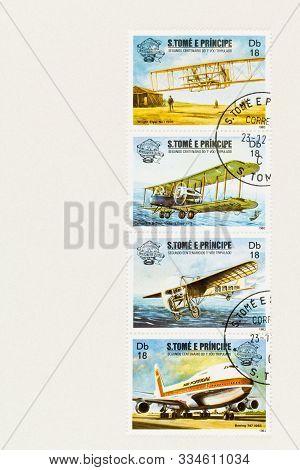 Seattle Washington - October 4, 2019: S Tome And Principe Se-tenant Postage Stamps Celebrating  200t