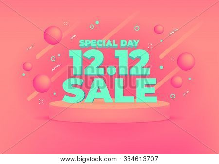 12.12 Shopping Day Sale Banner Background. 12.12 Crazy Sales Online.