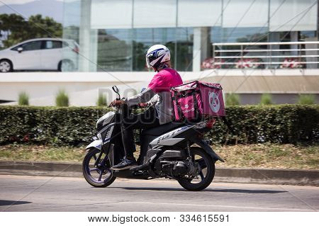 Delivery Service Man Ride A Motercycle Of Food Panda