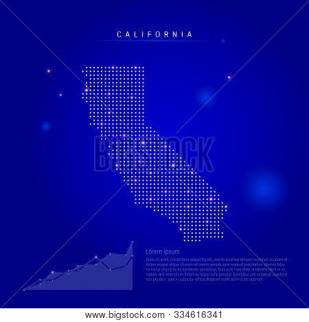 California Us State Illuminated Map With Glowing Dots. Infographics Elements. Dark Blue Space Backgr