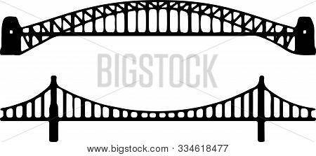 Bridge Icon On White Background Walk, Way, White, Wood