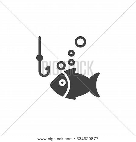 Fishing Hook And Fish Vector Icon. Filled Flat Sign For Mobile Concept And Web Design. Fish Bait Hoo