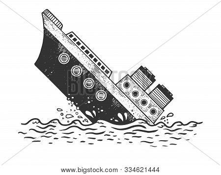 Sinking Steamboat Ship Sketch Engraving Vector Illustration. T-shirt Apparel Print Design. Scratch B