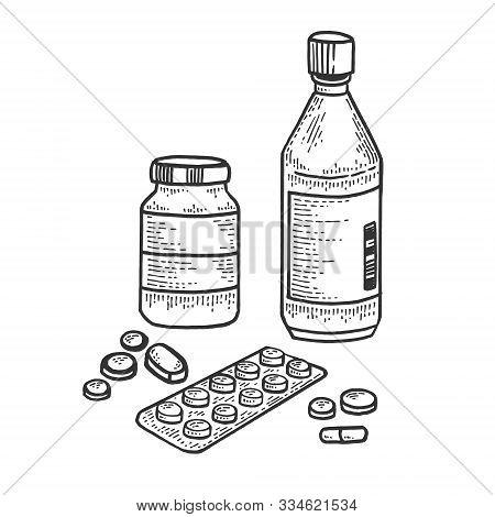 Medicine Drug Set Sketch Engraving Vector Illustration. T-shirt Apparel Print Design. Scratch Board