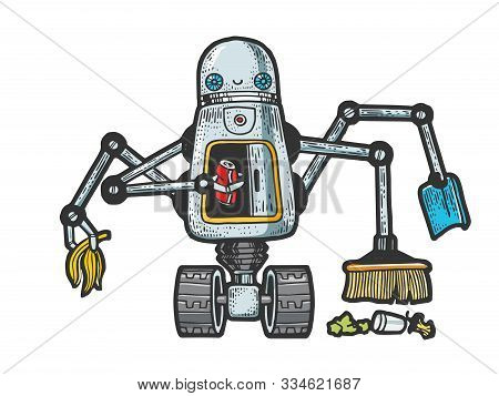 Robot garbage scavenger sketch engraving vector illustration. T-shirt apparel print design. Scratch board style imitation. Black and white hand drawn image. poster