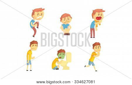 Sick Kid Character Suffering From Chickenpox And Stomachache Vector Set