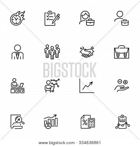 Business Consulting Line Icon Set. Corporate, Expertise, Examining. Business Analysis Concept. Can B