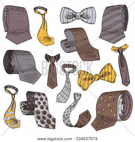 Stylish Monochrome Neckwear Items Hand Drawn Icon Illustrations Set