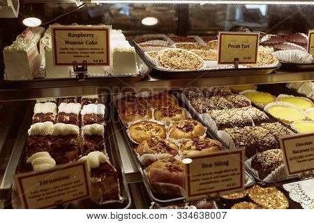 Brattleboro, Vermont - October 2nd, 2019:  Variety Of Desserts And Pastries For Sale At The Vermont