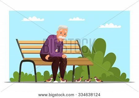 Old Man Feeding Birds Flat Vector Illustration. Aged Person, Retiree Sitting On Bench In Park Cartoo
