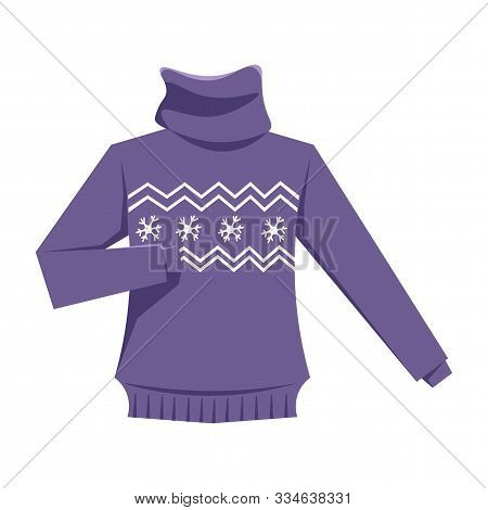 Knitted Sweater Flat Vector Illustration. Woolen Pullover Cartoon Clip Art Isolated On White Backgro