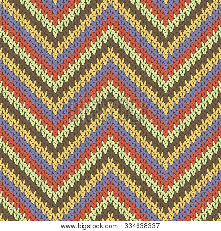 Handicraft Zigzag Chevron Stripes Knitting Texture Geometric Vector Seamless. Fair Isle Sweater Hosi