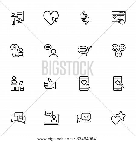 Customer Feedback Icon Set. Line Icons Collection On White Background. Rating, Communication, Review