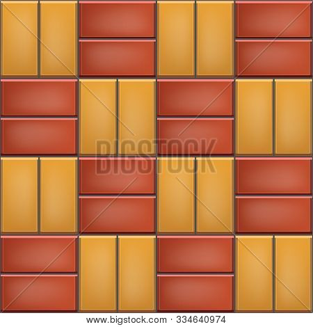 Seamless Pattern Of Tiled Cobblestone Pavers. Geometric Mosaic Street Tiles. Red And Yellow Color. S