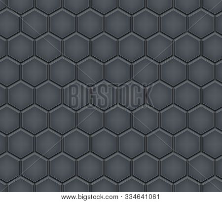 Seamless Pattern Of Hexagon Tiled Cobblestone Pavers. Geometric Mosaic Street Tiles. Black Gray Colo