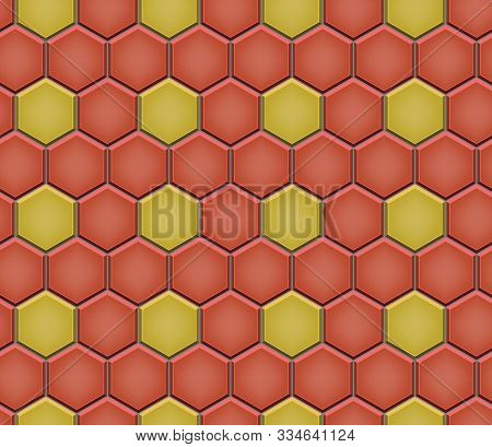 Seamless Pattern Of Hexagon Tiled Cobblestone Pavers. Geometric Mosaic Street Tiles. Red And Yellow