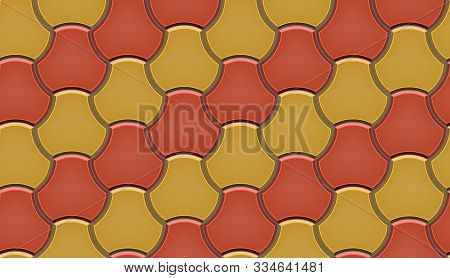 Seamless Pattern Of Tiled Cobblestone Pavers. Geometric Mosaic Street Tiles. Red And Yellow Color. M