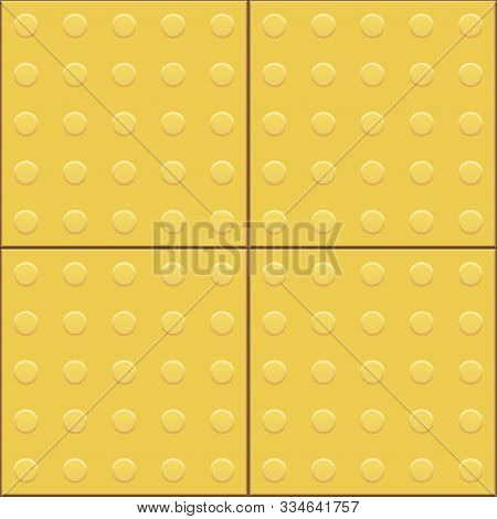 Yellow Tactile Paving Tile Seamless Pattern. Footpath For The Blind And Visually Impaired. Metal Til