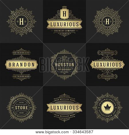 Vintage Logos And Monograms Set Elegant Flourishes Line Art Graceful Ornaments Victorian Style Vecto