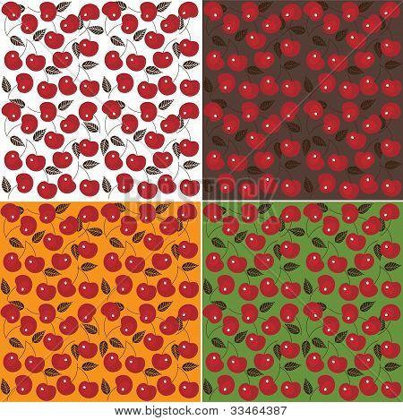 Cherry seamless background. Set