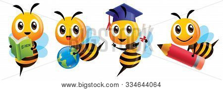 Bee Back To School Set. Cartoon Cute Bee Education Mascot Set. Cartoon Cute Bee Graduation, Holding