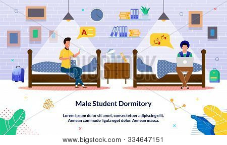 Banner Written Male Student Dormitory, Cartoon. Guys Are Sitting On Bed Student Dorm And Talking Che