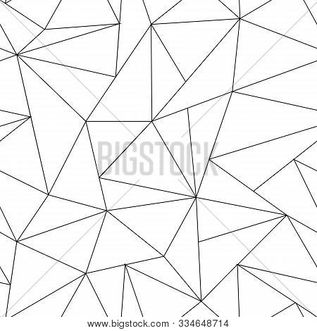 Abstract Triangle Seamless Pattern. Irregular Polygonal Linear Grid. Geometric Background. Vector Bl