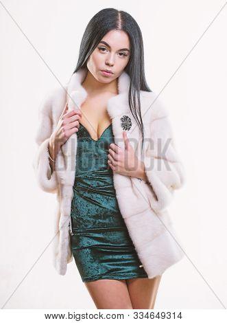 Woman Wear Velvet Sexy Dress And Short Coat. Fashion Concept. Girl Elegant Lady Wear Fashionable Coa