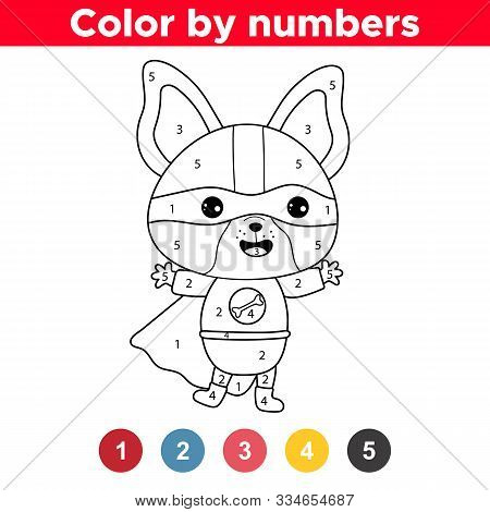 Color By Numbers. Kawaii Dog Dressed Up Superheroes Costume. French Bulldog Puppy. Educational Game