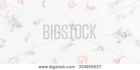 Pattern With Dry Pink Rose Petals And Wormwood Sprigs On A White Background. Light Romantic Composit